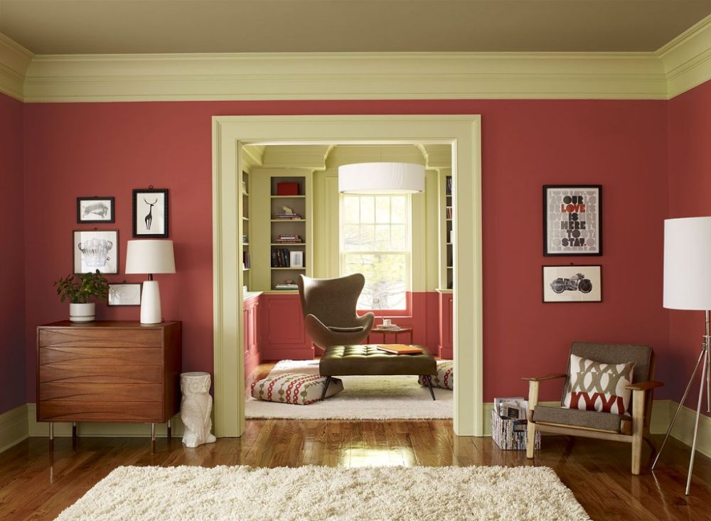 Red Living Room Color Scheme in Small Space with The White Doorway and The Valance