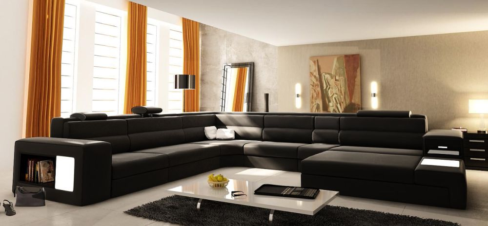 remarkable large u shaped sofa in black color with cutting edge seating adds bookshelf on the armrest creating warm soul for everyone with u shaped sectional sofa