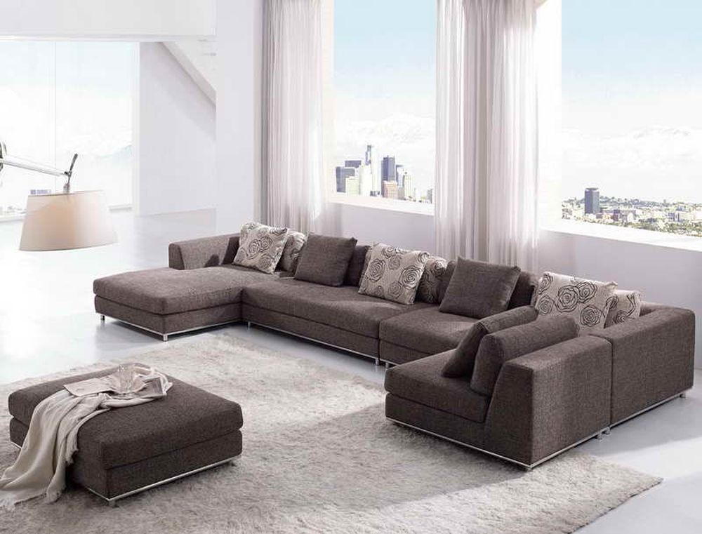 shabby chic grey velvet sectional sofa with u shape mixes the square ottoman creating warm soul for everyone with u shaped sectional sofa