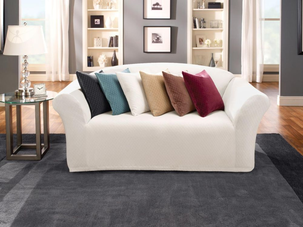 simple loveseat with white cover and colorful throw pillows plus classy end table astounding white slipcovered sofa for various living room design