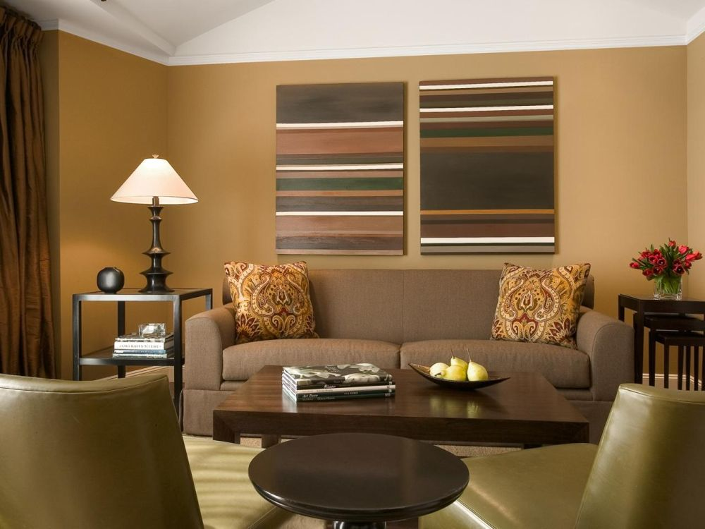 warm brown living room with artistic stripped window shades plus comfy small furniture sets what color to paint living room for the extraordinary interior appearance