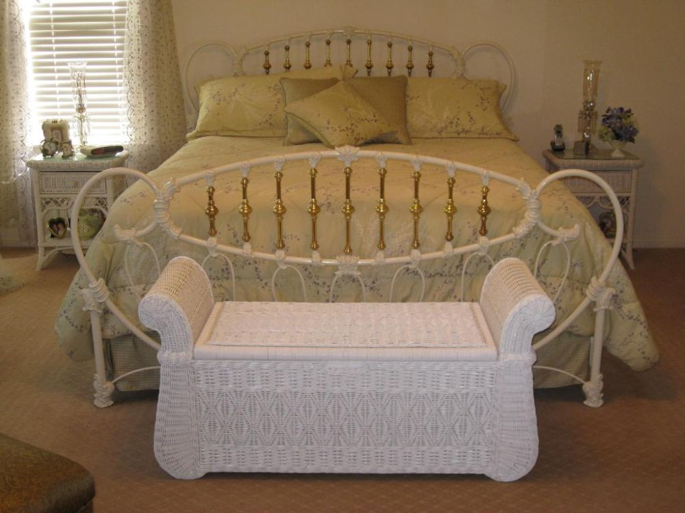 white wicker bedroom furniture with metal bed frame and white rattan bench white bedroom furniture with some interesting wicker accents