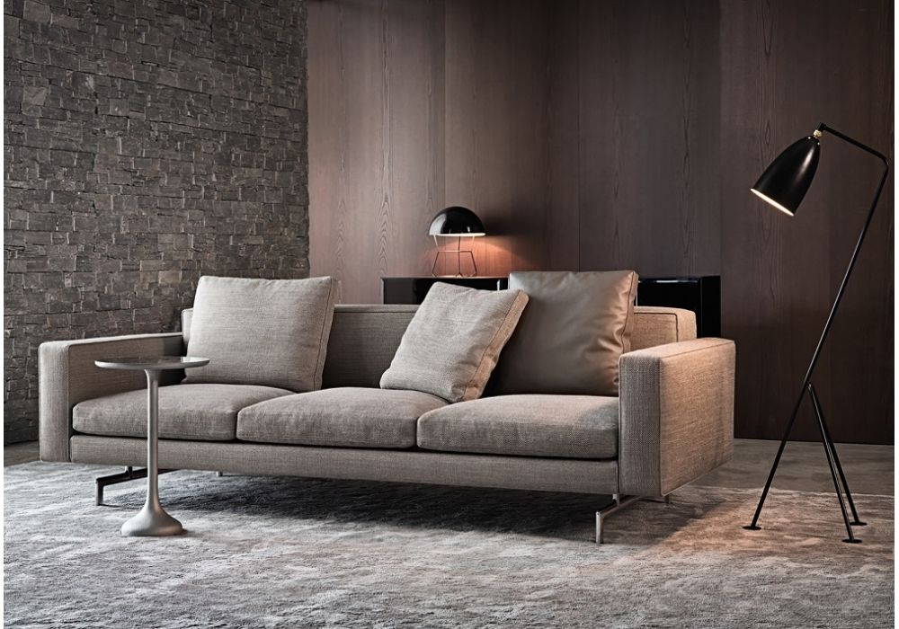 wide contemporary low back sofa in gray tone with metal legs low back sofa design – new style for good interior design