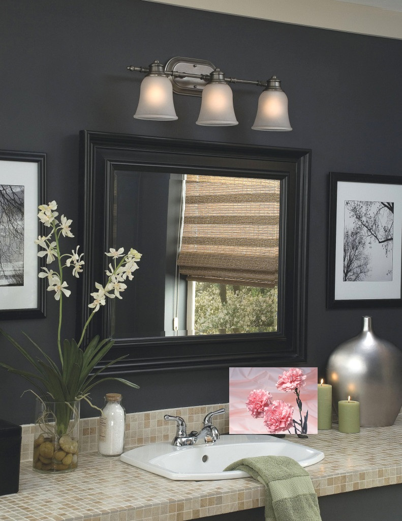 black bathroom design with lighting tracks above the wall mirror the effect of luxury from bathroom light bars
