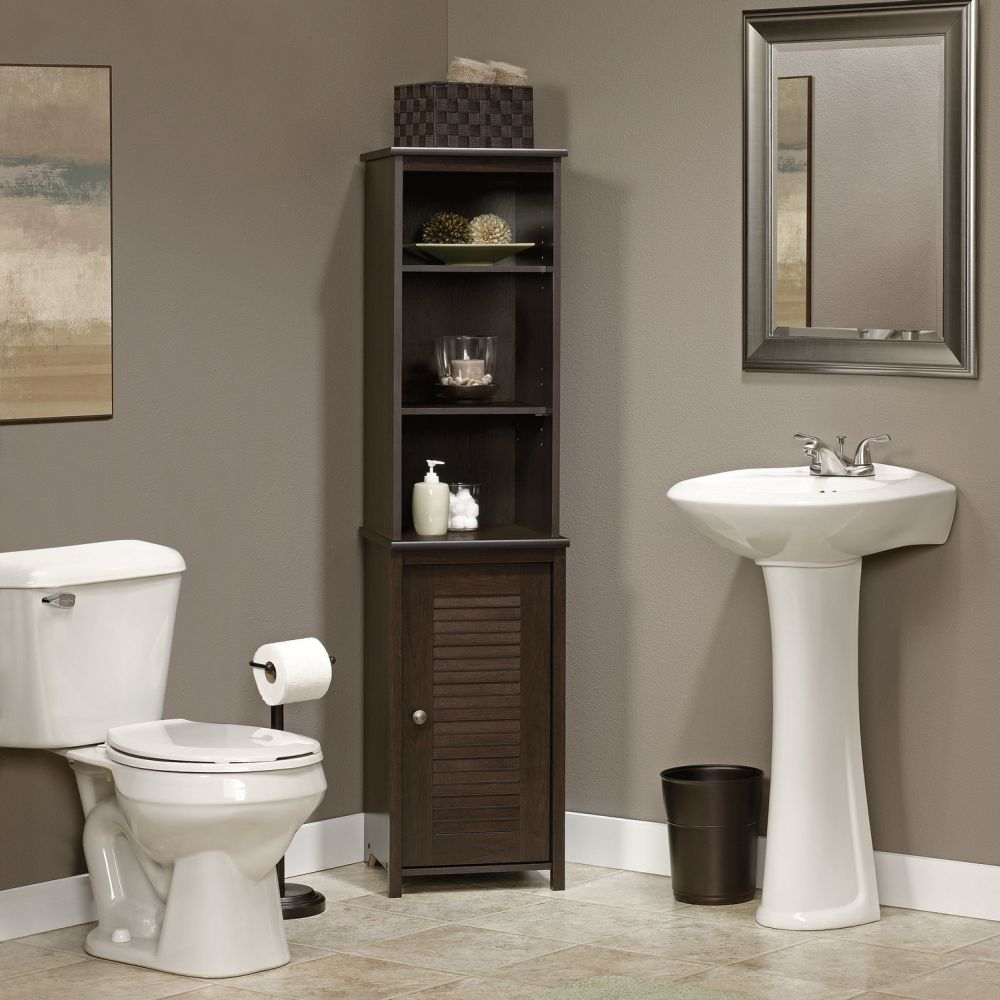 black wooden corner linen towers for bathrooms design with open slots bathroom linen tower – space saver storage idea