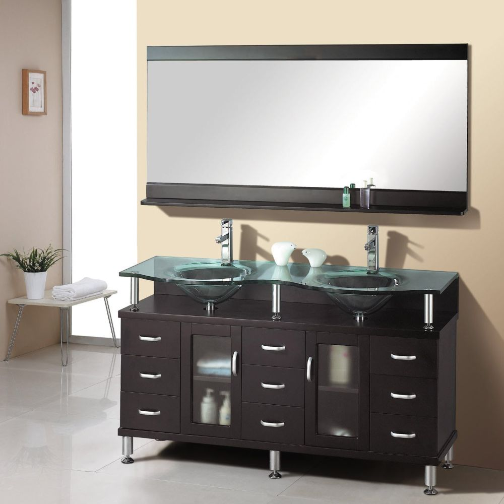 classy menards bathroom vanities with double stacked glass sinks on the top and frameless wall mirror menards bathroom vanities with everything that you can apply at home