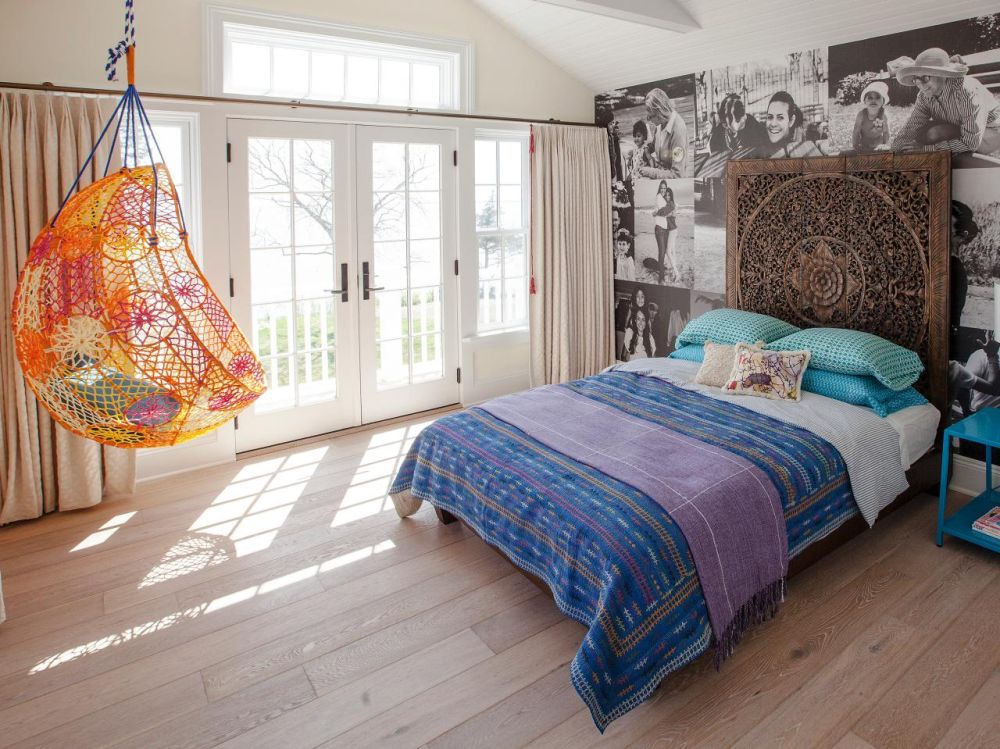 eclectic bedroom with orange hanging chair hanging chairs for bedroom – comfortable set for relax