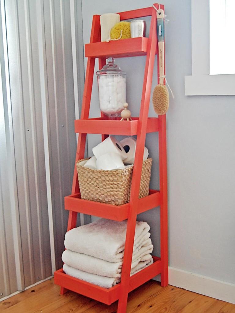 Ladder Storage Tower for Bathroom in Scandinavian Style