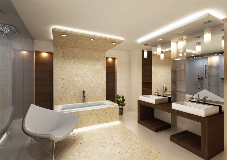 luxurious bathroom design with marble application from the floor to the furniture plus elegant lighting bars the effect of luxury from bathroom light bars