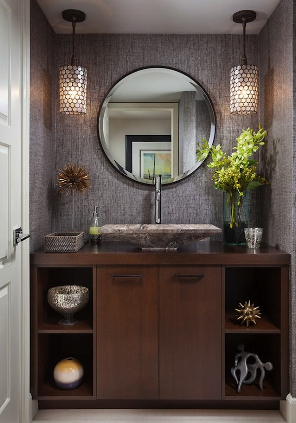 simple vanity design in rustic appearance with open slots and the closed ones unique ideas of powder room vanities that you should have miscellaneous