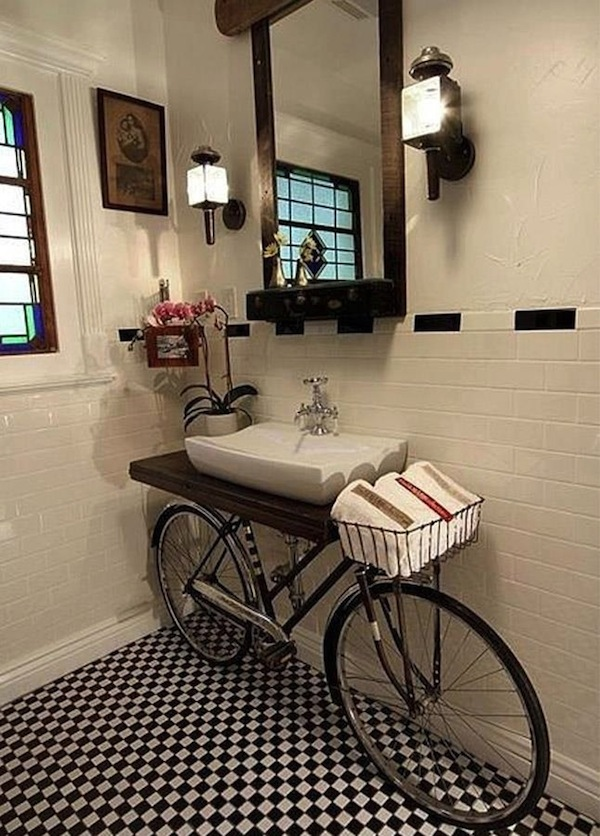 unique vanity design for powder room in bicycle shape with wooden board added on the saddle unique ideas of powder room vanities that you should have miscellaneous