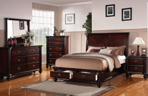 antique cherry wood furniture set in queen-size bed frame with nightstand and vanity classy cherry wood bedroom furniture sets exuding calming ambience