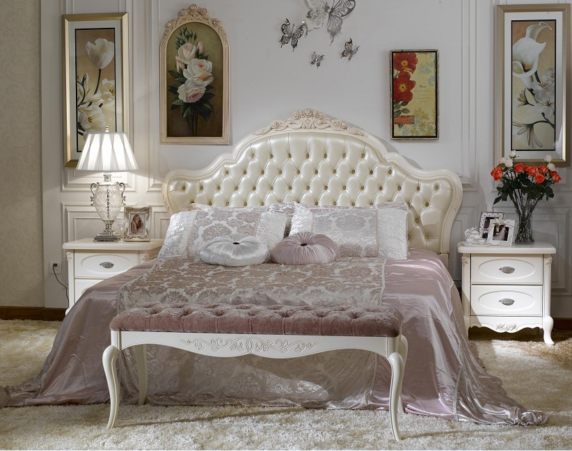 camel back queen bed in classic luxurious bedroom with white wooden nightstands and shabby chic bench beautiful french country bedroom furniture for impressive old interior style
