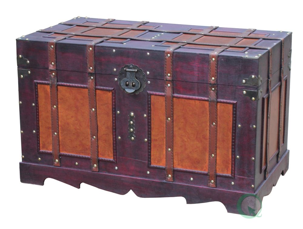 antique style steamer trunk by vinitique wood top products of steamer trunk coffee table