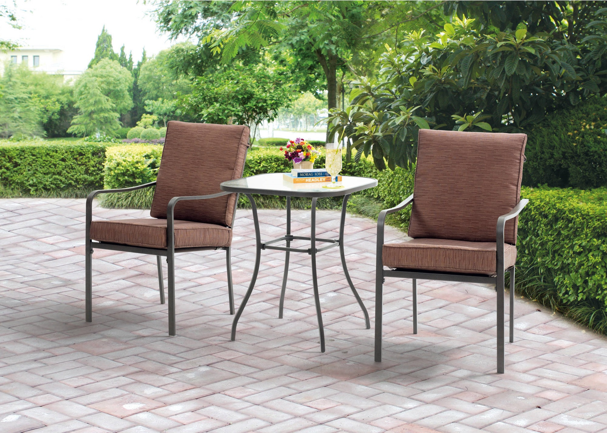 mainstays crossman 3-piece outdoor bistro set ii with arms, seats 2 top 3 walmart bistro set
