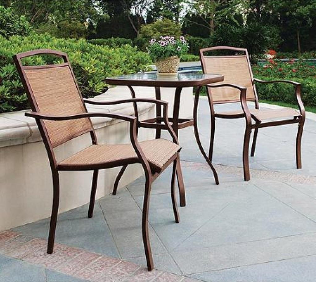 mainstays sand dune 3-piece outdoor bistro set, seats 2 top 3 walmart bistro set