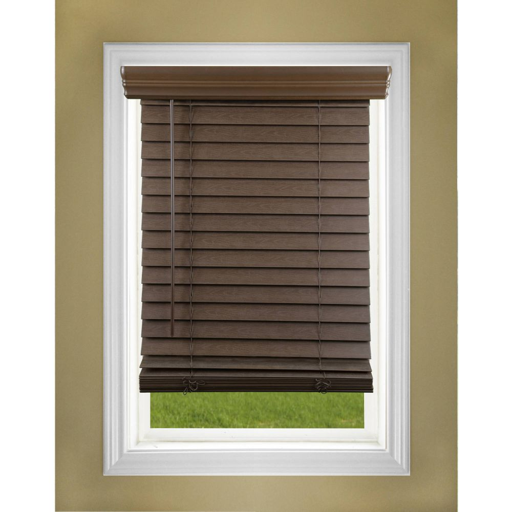 regal estate 2 inch cordless faux wood blind, dark oak faux wood blinds walmart review