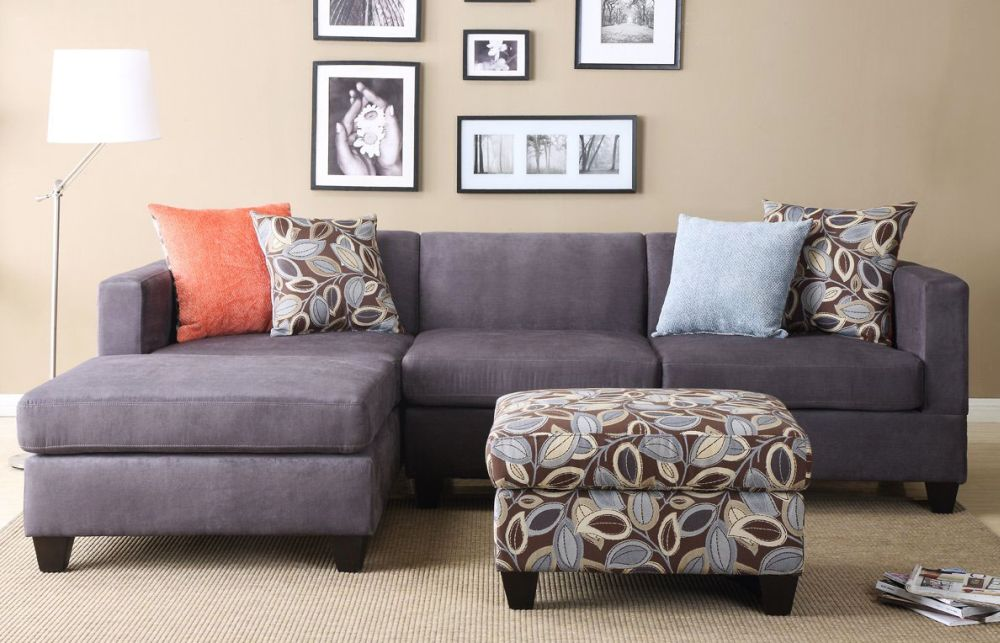 grey small sectional sofa with cushion small scale sectionals for your living room