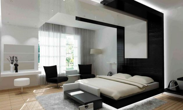Luxury Bedroom Interior with White Bedside Table