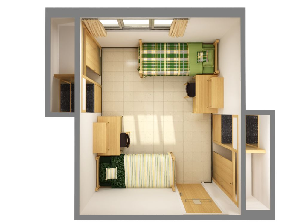 rendering of a sample three student room in stockbridge virtual bedroom designer to plan and design your room