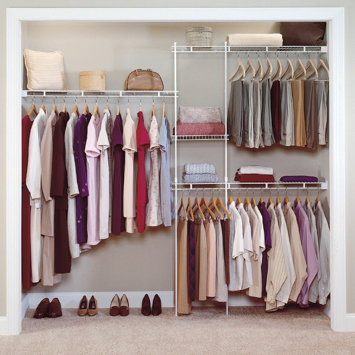 simple small minimalist walk in closet organizer design ideas with iron clothing hanger rods benefits of freestanding closet system