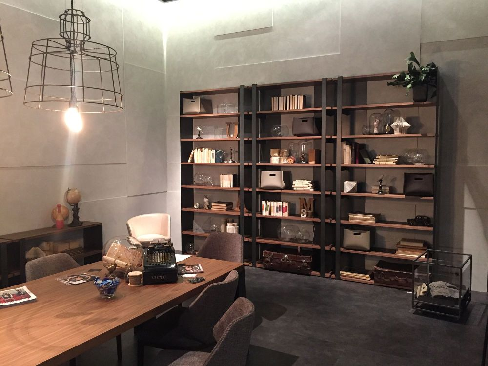 industrial home office with bookshelf decor fashionable panache: excellent inspirations to use bookshelves for decoration