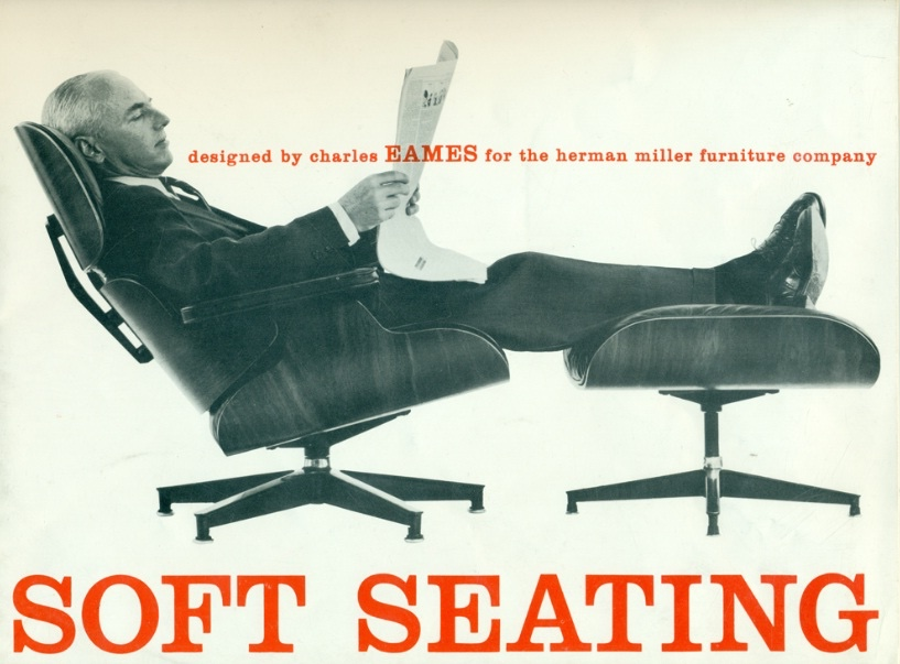 Eames lounge chair and ottoman advertised by Herman Milller the classic design stories of the eames lounge chair and ottoman