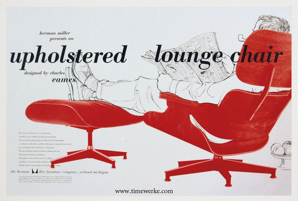 Eames lounge chair and ottoman advertisement by Herman Miller in 1956 the classic design stories of the eames lounge chair and ottoman