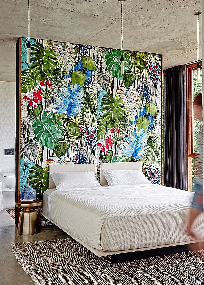 accent wall for bedroom in tropical style 20 ideas to enhance golden glint to the bedroom with nightstands and bedside tables