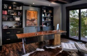 black shelves and cabinets home office with live edge table natural enchantment - celebrating the charm of live-edge decoration with 25 home offices