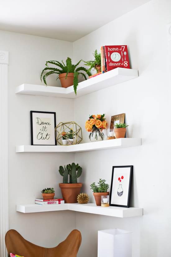 corner L-shaped floating shelf design 2017 trends: 11 fashionable wall floating shelves for your homes