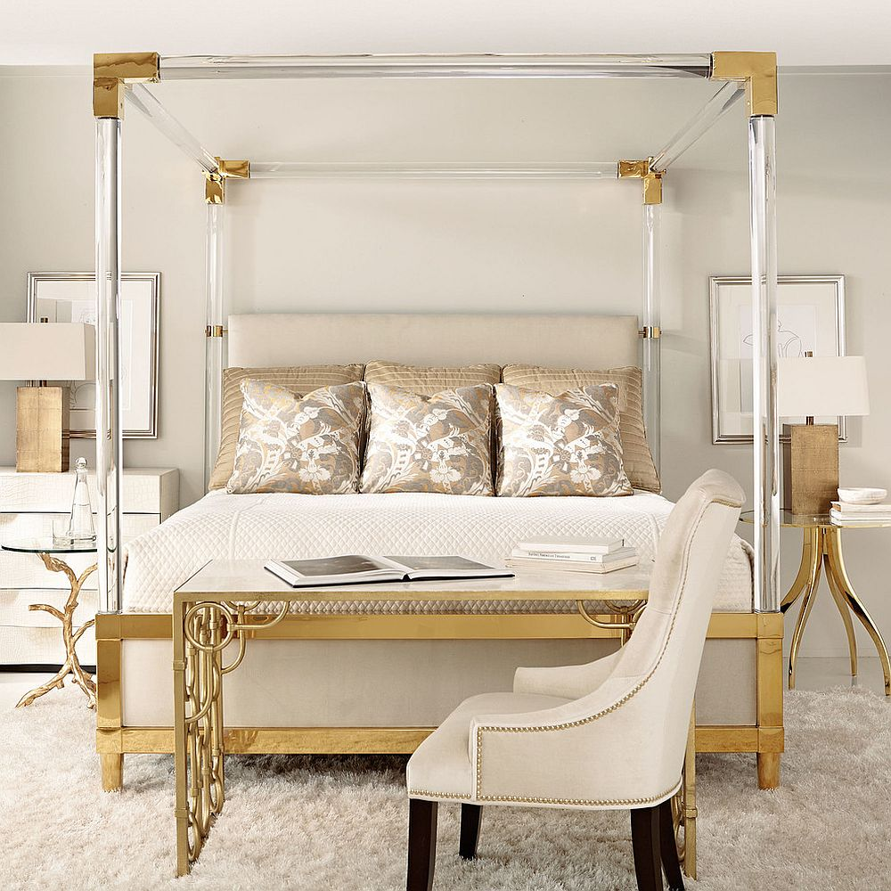 gold bedside table for contemporary bedroom design 20 ideas to enhance golden glint to the bedroom with nightstands and bedside tables