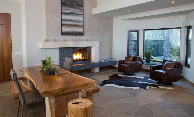 Home Office Design with Live Edge Table and Fireplace