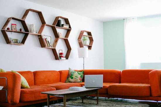 Homeycomb Shaped Wall Floating Shelves For Living Room 2017 Trends: 11  Fashionable Wall Floating