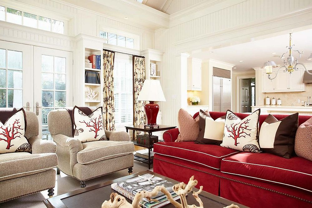 red and white sofa for gorgous family room vibrant mode: 25 colorful sofas to refresh your living room