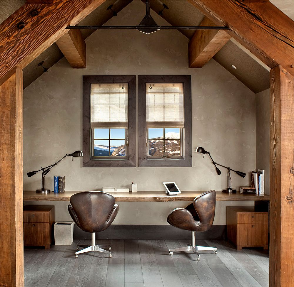 sleek edge desk for rustic home office natural enchantment - celebrating the charm of live-edge decoration with 25 home offices