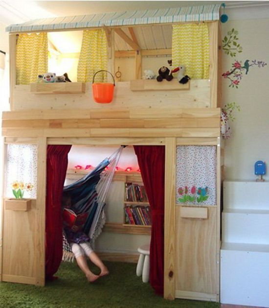IKEA bunk bed transformed to indoor cabin for kids room 33 genius ideas to transform furniture for kids