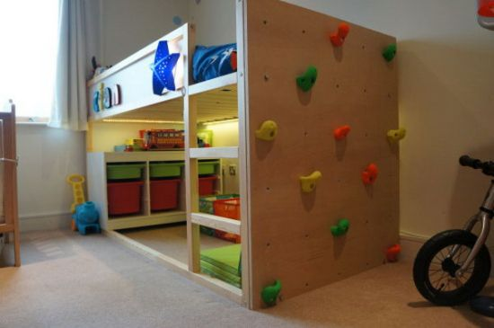 IKEA kura bunk bed design featured with climbing wall 33 genius ideas to transform furniture for kids